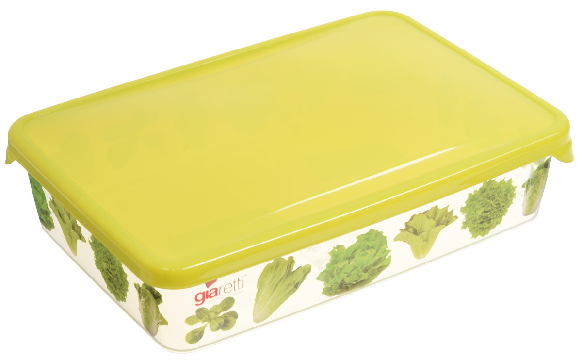 Емкость для продуктов Giaretti Браво. Салат, цвет: прозрачный, салатовый, 900 мл емкость для продуктов giaretti браво цвет белый прозрачный 900 мл gr1068