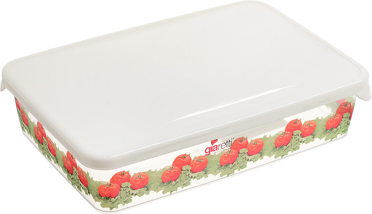 Емкость для продуктов Giaretti Браво. Помидоры, цвет: прозрачный, кремовый, 900 мл контейнер giaretti цвет кремовый прозрачный 29 2 х 17 х 11 см