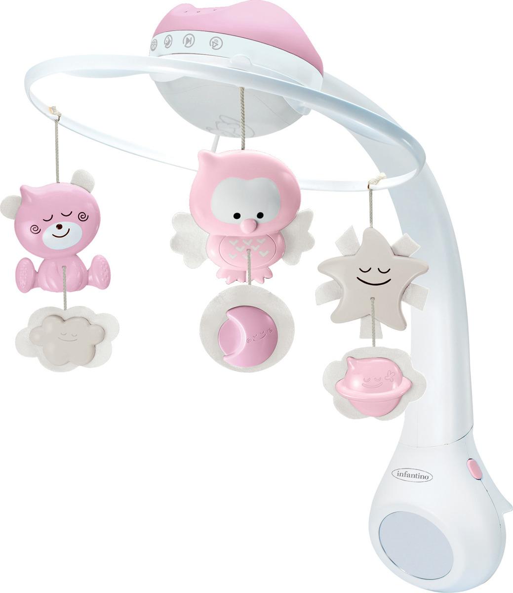Мобиль Infantino 3 в 1, музыкальный, цвет: розовый ночник