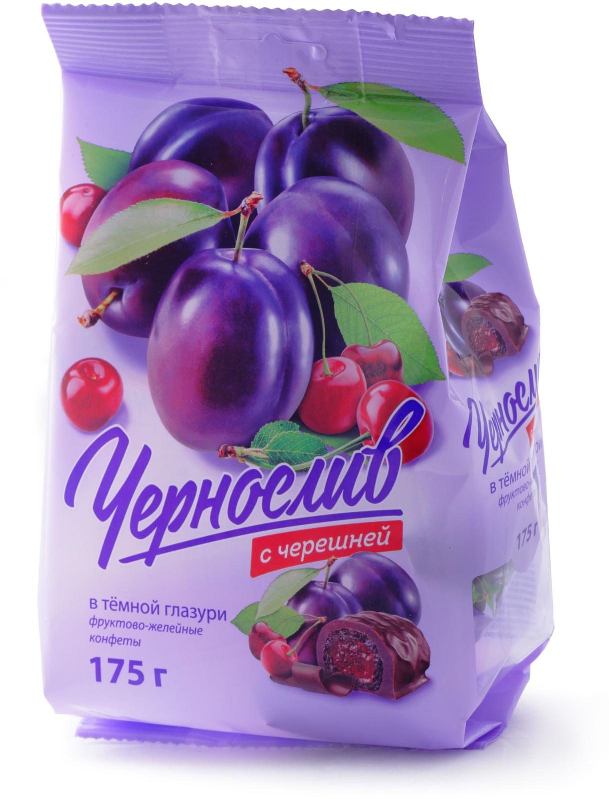 Конфеты ФЖК Черносливсчерешнейвтемнойглазури, 175г dr oetker глазурь со вкусом темного шоколада 100 г