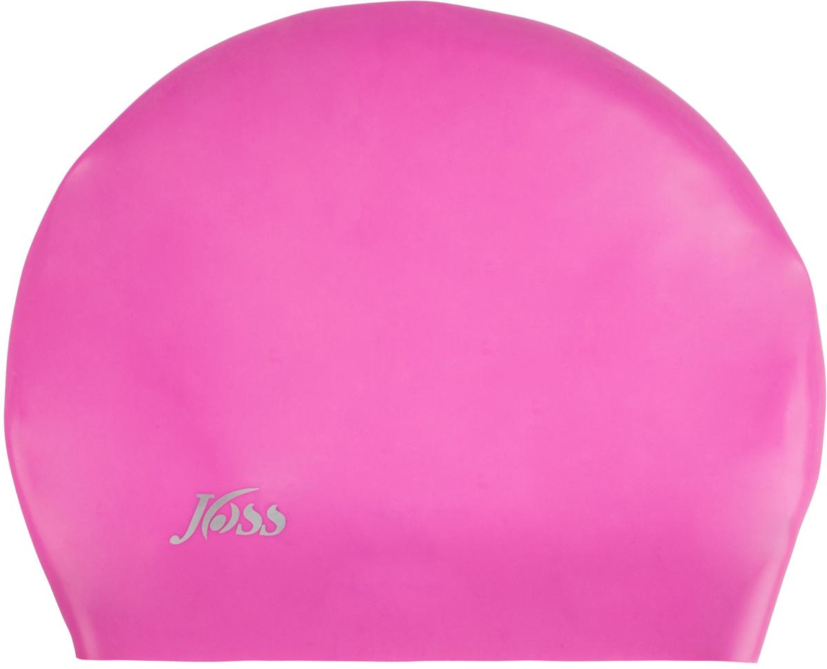 Шапочка для плавания силиконовая Joss, цвет: малиновый. Размер универсальный