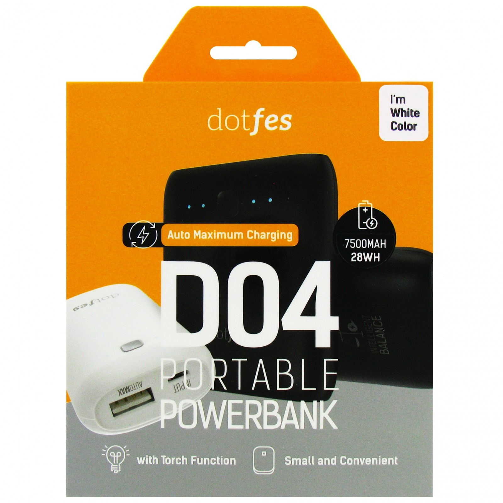 Аккумулятор внешний резервный Dotfes D04-7 7500mAh AutoMax, два USB выхода 1А / 2,1A + фонарик, white 1pcs right angle 90 degree usb 2 0 a male female adapter connecter for lap pc wholesale drop shipping