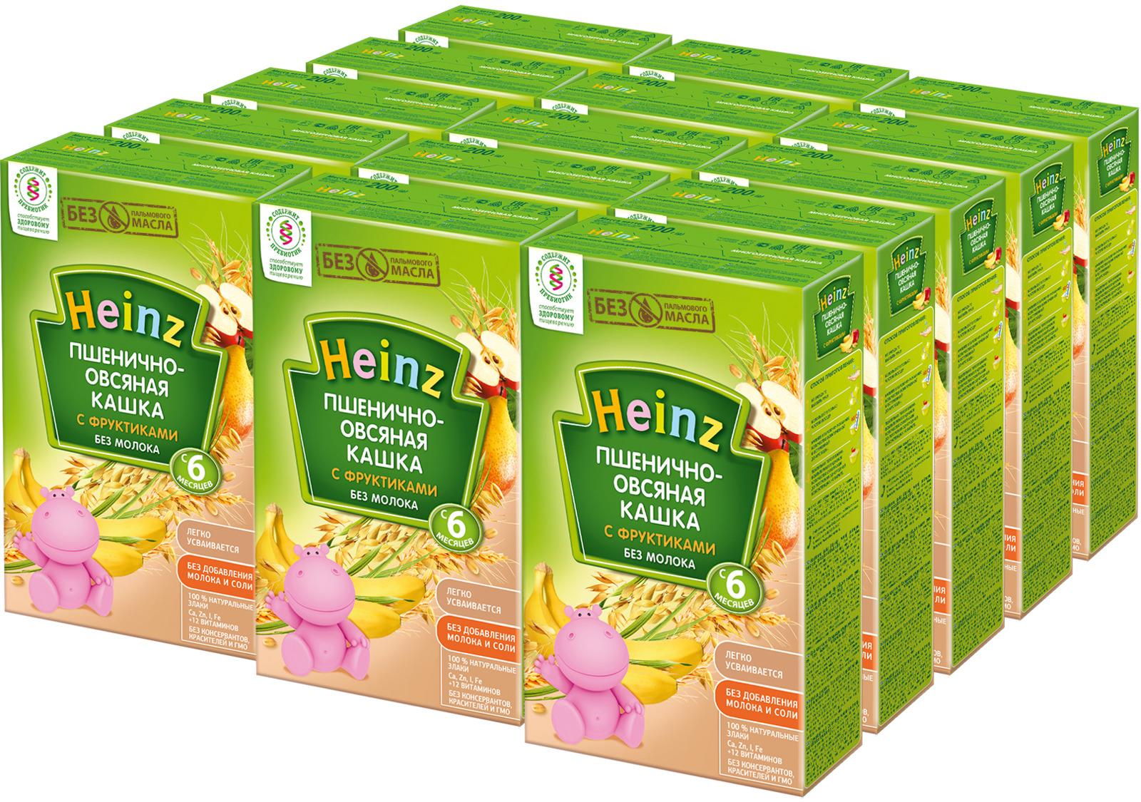 Каша Heinz пшенично-овсяная с фруктиками, 6 месяцев, 15 шт по 200 г