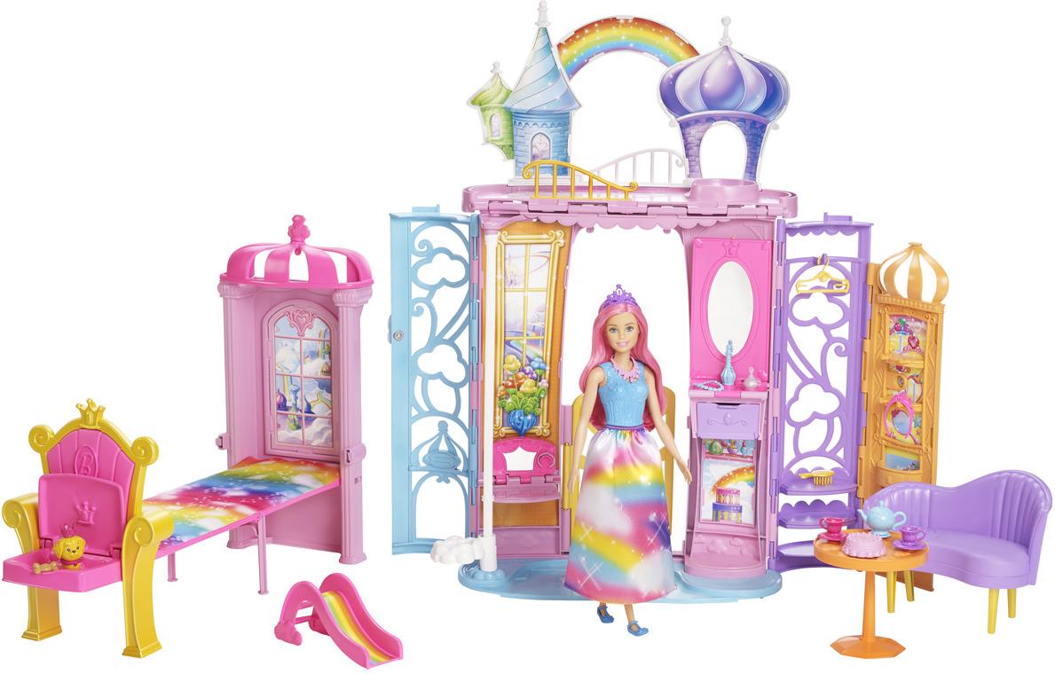 Игровой набор Barbie Переносной радужный дворец, FRB15, с куклой цена