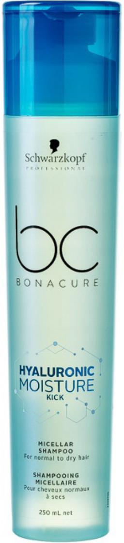 Шампунь для волос увлажняющий мицеллярный Schwarzkopf Professional Bonacure Hyaluronic Moisture Kick, 250 мл schwarzkopf bc hyaluronic moisture kick spray conditione спрей кондиционер 200 мл