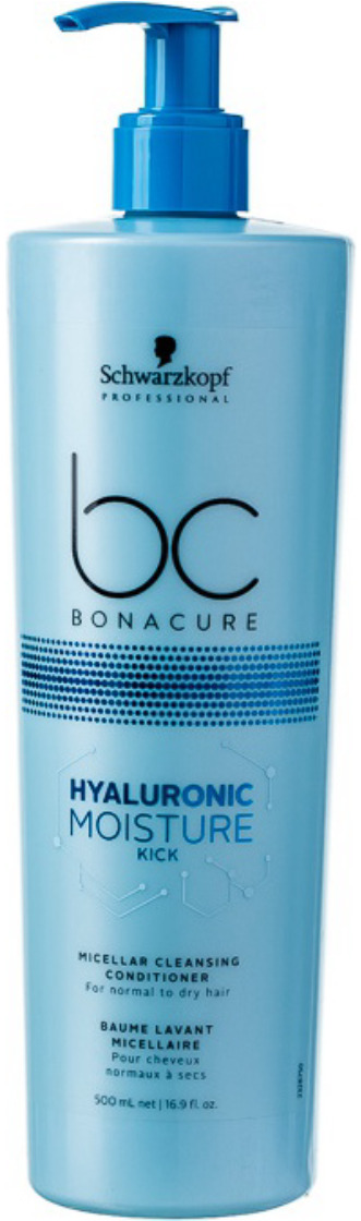 Кондиционер мицеллярный очищающий Schwarzkopf Professional Bonacure Hyaluronic Moisture Kick, 500 мл schwarzkopf bc hyaluronic moisture kick spray conditione спрей кондиционер 200 мл