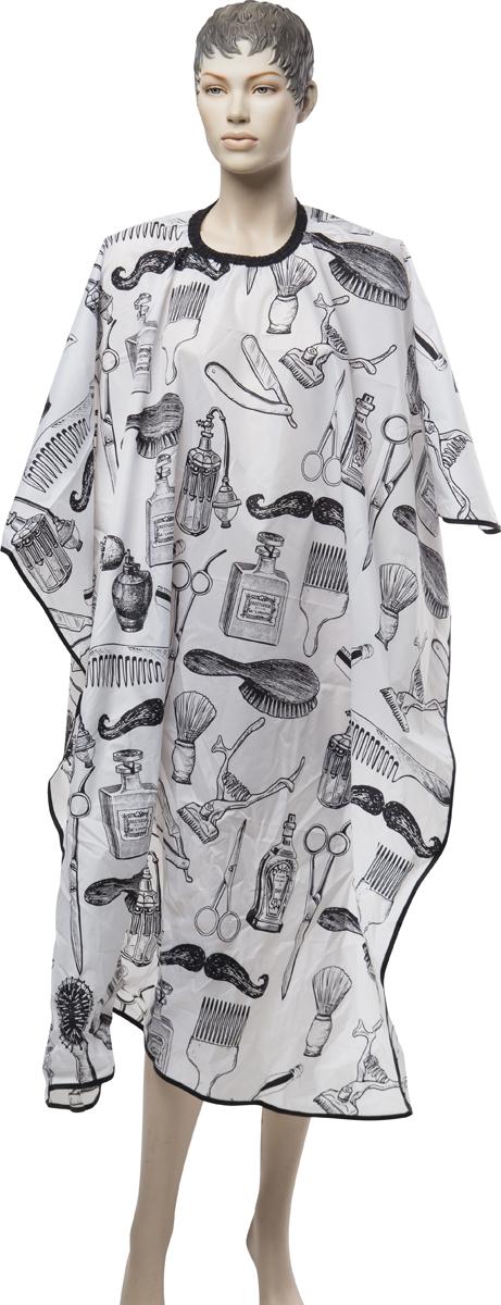 Пеньюар для стрижки Dewal Barber, цвет: белый, 128 х 150 см livia corsetti amaretta черный пеньюар из атласного материала