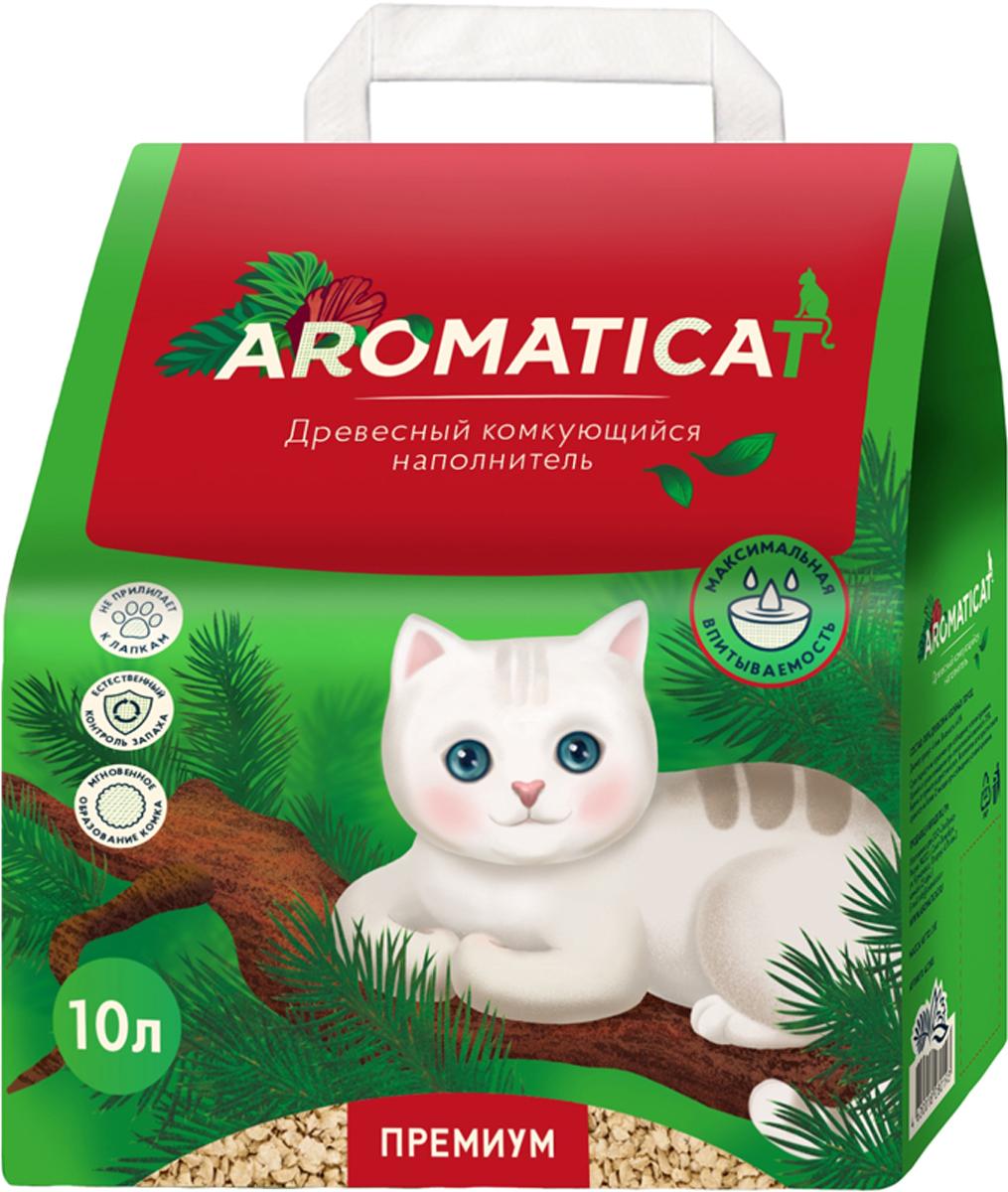 Наполнитель для кошачьего туалета AromatiCat Premium, древесный, комкующийся, 10 л цена в Москве и Питере