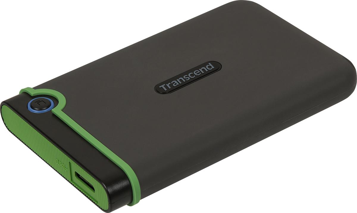Портативный внешний жесткий диск Transcend StoreJet 25M3S, 2TB, Dark Gray Light Green