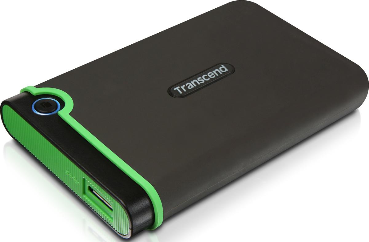 Портативный внешний жесткий диск Transcend StoreJet 25MC, 1TB, Dark Gray Light Green