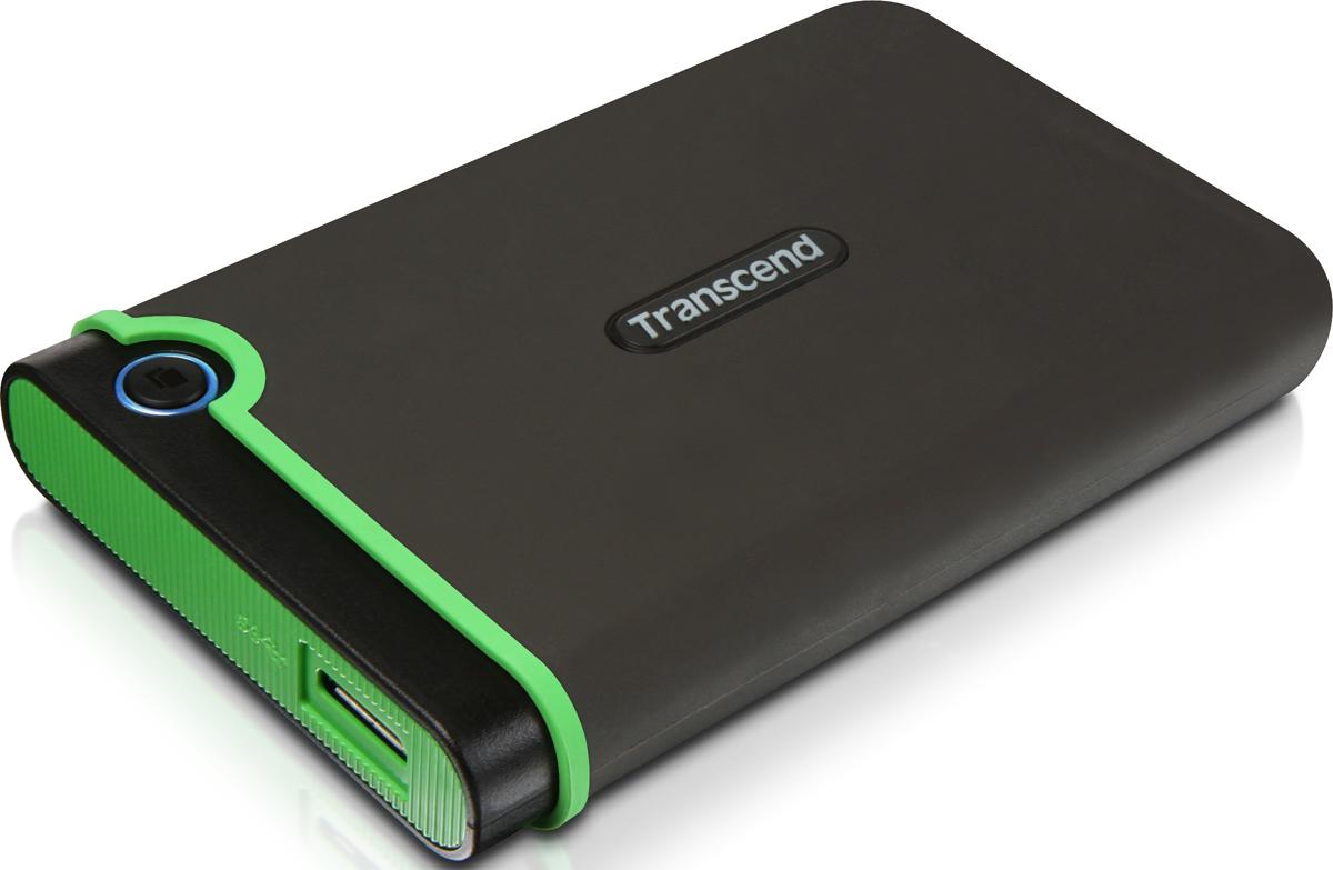 Портативный внешний жесткий диск Transcend StoreJet 25MC, 2TB, Dark Gray Light Green