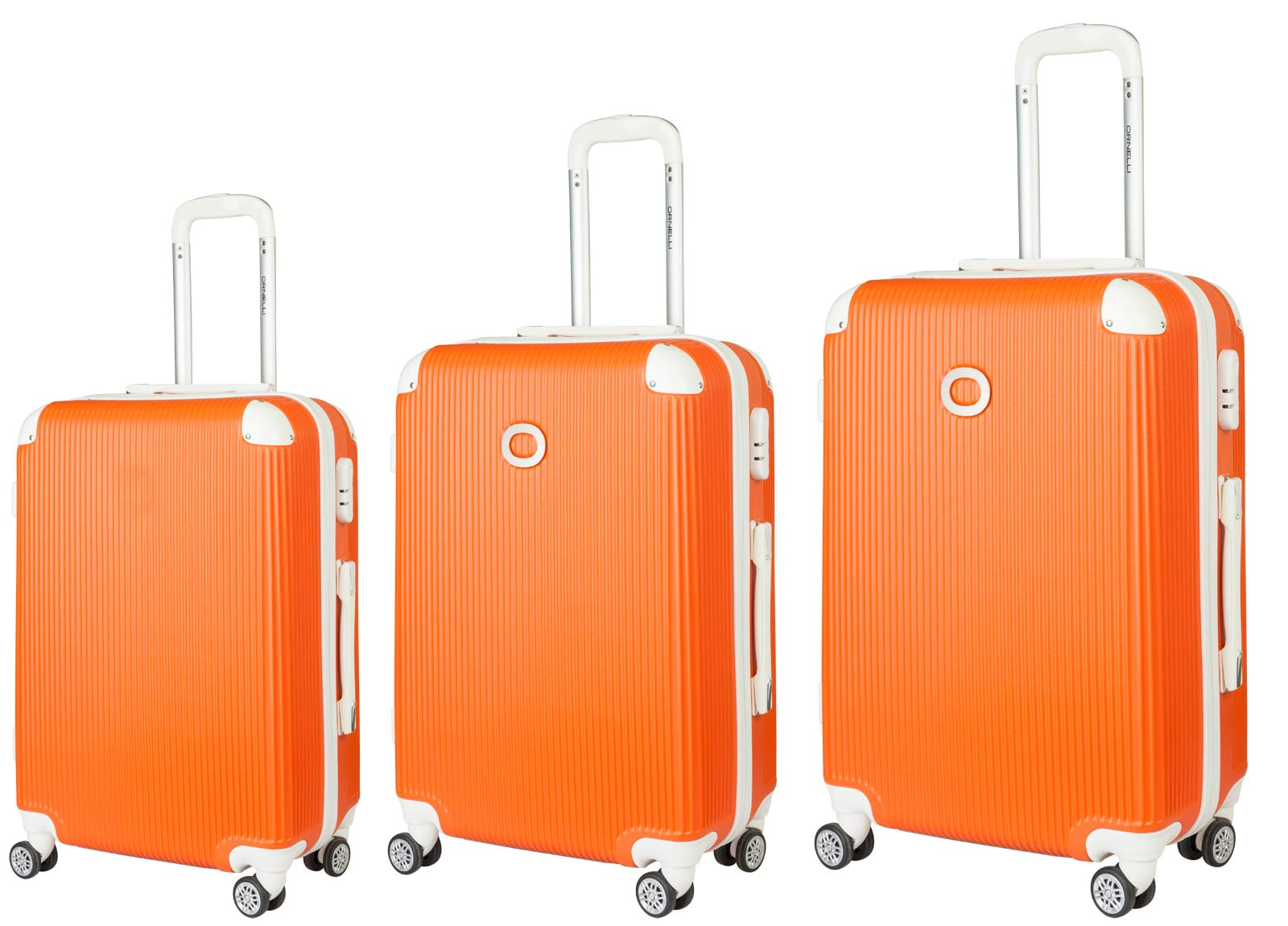 Чемодан Ornelli 3 в 1 , цвет: оранжевый, 2173021730Комплект состоит из 3 чемоданов: маленький чемодан на колесах 35 ? 24 ? 56 cм, средний чемодан на колесах 41 ? 26 ? 67 cм, большой чемодан на колесах 50 ? 37 ? 75 cм . Каркас, 4 колесика и боковая ручка изготовлены из прочного пластика. Выдвижная двухступенчатая ручка сделана из прочного металла. Дополнительно кодовый замок гарантирует безопасность. Внутри отделение с эластичными ремнями, предохраняющими одежду от перемещения и 2 кармана из сетки на молнии. В комплект идет чехол для защиты от грязи.