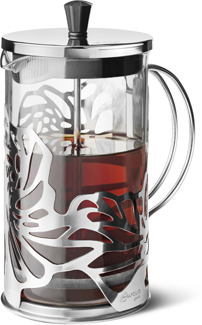 Френч-пресс для заваривания чая и кофе Apollo Genio Cite Silver, цвет: серебристый, 600 мл френч пресс apollo rondo 300мл