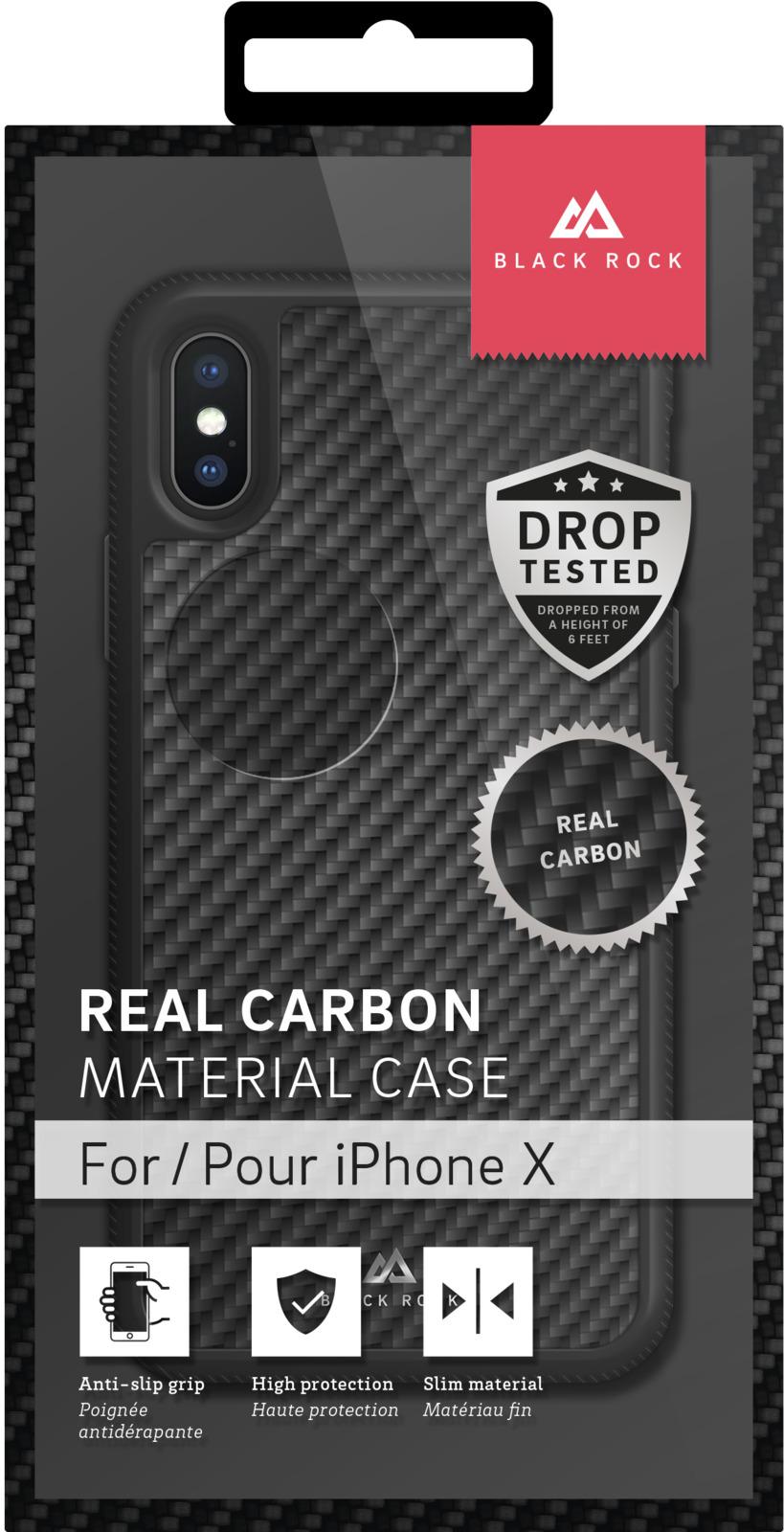 Чехол Black Rock Material Case Real Carbon для Apple iPhone X, цвет: черный