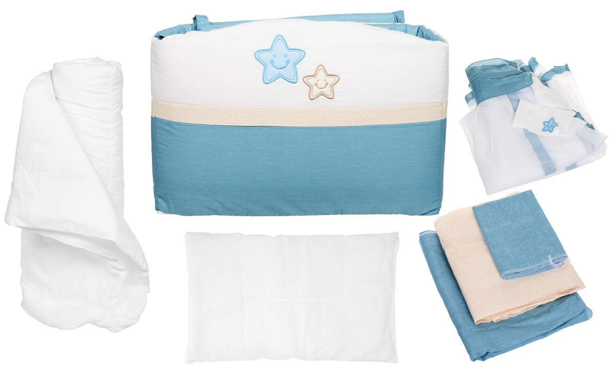 Комплект белья для новорожденных Polini Звезды, цвет: голубой, 7 предметов комплект в кроватку polini 0001201 1 голубой