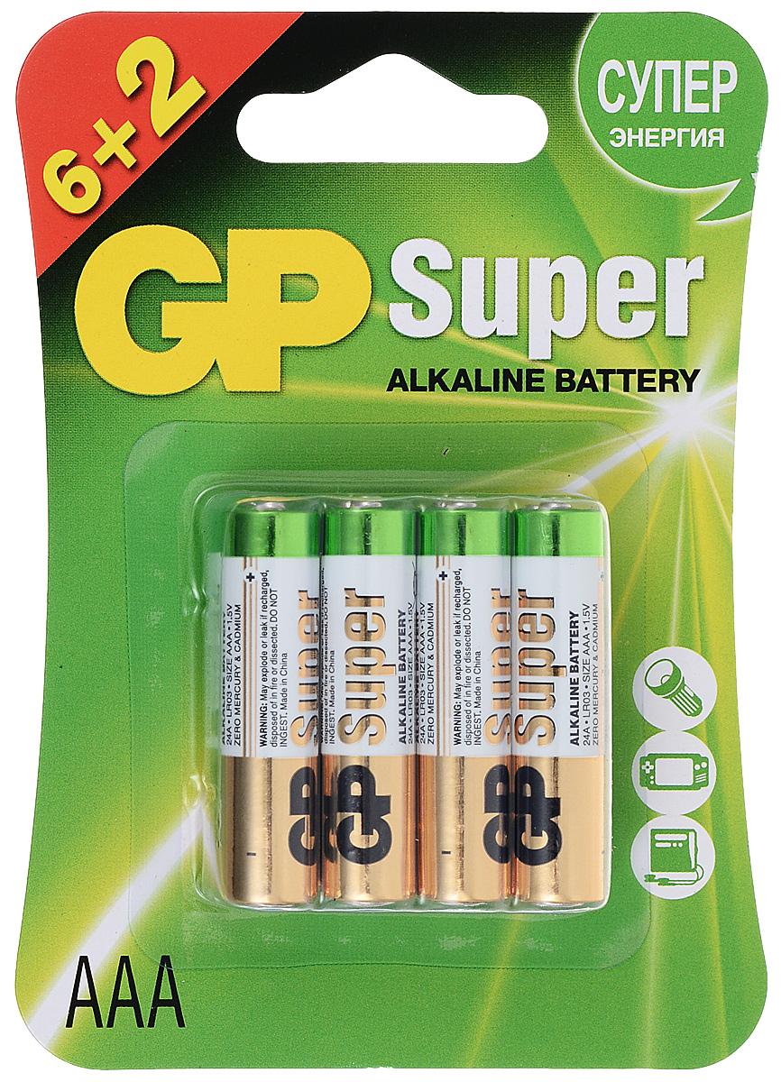 Батарейка алкалиновая GP Batteries, тип ААА, 6 шт + ПОДАРОК: Батарейка алкалиновая GP Batteries, тип ААА, 2 шт батарейка алкалиновая gp batteries super alkaline тип крона 9v