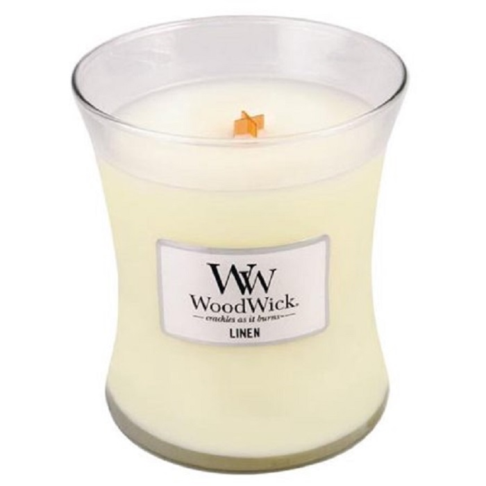 Ароматическая свеча Woodwick Лен, средняя ароматическая свеча woodwick лен маленькая