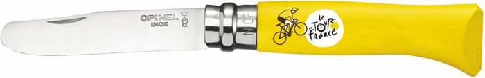 Нож складной Opinel My First Opinel Tour De France, цвет: желтый, клинок 8 см002008Нож Opinel серии MyFirstOpinel TourDeFrance №07, клинок 8см., нерж.сталь, граб, желтый, рис.велосипедист, картон.коробка Нож серии My First Opinel TourDeFrance имеет небольшие размеры и закругленное лезвие, благодаря чему он не только удобен в использовании ребенком, а и многофункционален. Например, этот нож вполне подходит для приготовления пищи, поделок и мелких работ, требующих нормального лезвия. Хорошо проработанный дизайн, делает такой нож очень удобным, эргономичным и по-настоящему запоминающимся. Характеристики ножа: Материал лезвия: сталь Sandvik 12C27 Материал рукояти: бук (желтый, рисунок велосипедист) Тип ножевого замка: Viroblock Приспособление для открытия клинка: насечка на лезвии Длина лезвия, см: 7,5 Длина ножа, см: 17,5 Ширина лезвия, см: 1,6 Длина в сложенном положении, см: 10 Вес, гр: 40 Вес ножа с упаковкой, гр: 40 Viroblock - оригинальное запорное устройство, представляющее собой кольцо с прорезью, которое, будучи повернуто относительно оси ножа, упирается в пятку клинка и не дает ножу самопроизвольно складываться при работе или раскладываться в кармане. Конструкция эта защищена патентом и устанавливается на ножи Opinel с 1955 года, начиная с модели n° 6. Французская форма Opinel - производитель ножей с 1890 года. Удачная конструкция ножей обеспечила фирме не только длительное существование, но и всемирную славу. Ножи Opinel являются символом Франции. Классический нож этого типа - рукоять из дерева, металлическая втулка, ось, клинок и поворотное кольцо. ...