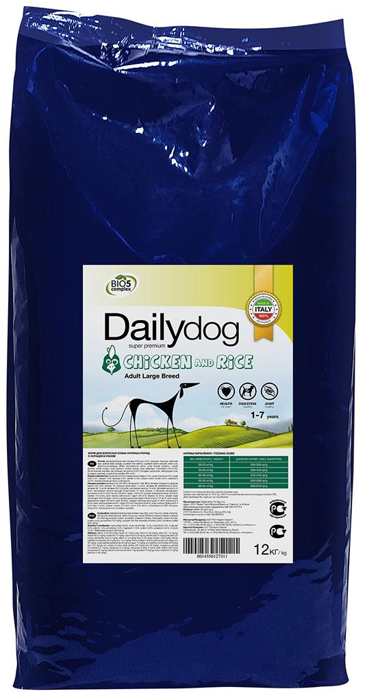 """Корм сухой Daily Dog """"Adult Large Breed Chicken and Rice"""", для взрослых собак крупных пород, с курицей и рисом, 12 кг"""