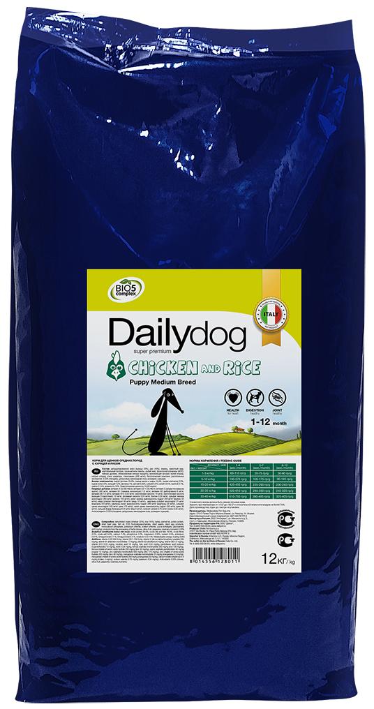 """Корм сухой Daily Dog """"Puppy Medium Breed Chicken & Rice"""", для щенков средних пород, с курицей и рисом, 12 кг"""