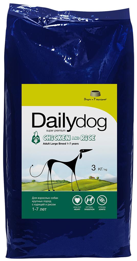 Корм сухой Daily Dog Adult Large Breed Chicken and Rice, для взрослых собак крупных пород, с курицей и рисом, 3 кг рейтинг кормов для собак 2015