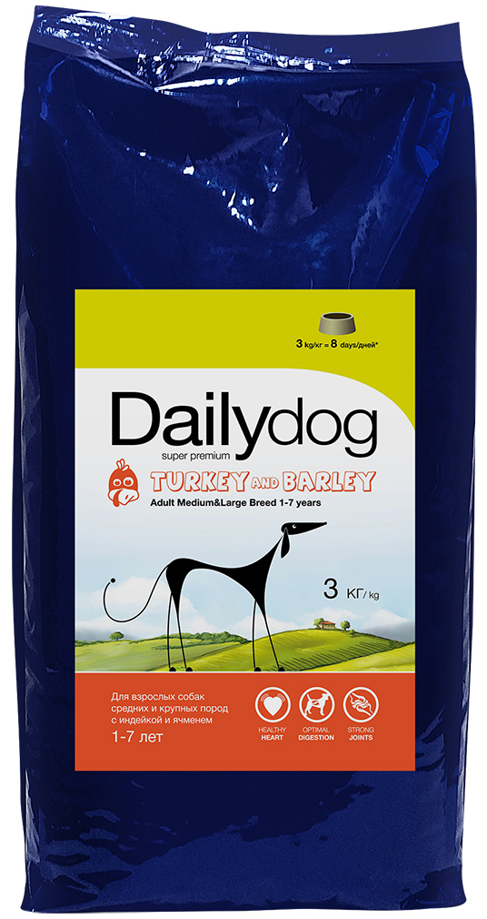"""Корм сухой Daily Dog """"Adult Medium and Large Breed turkey and barly"""", для взрослых собак средних и крупных пород, с индейкой и ячменем, 3 кг"""