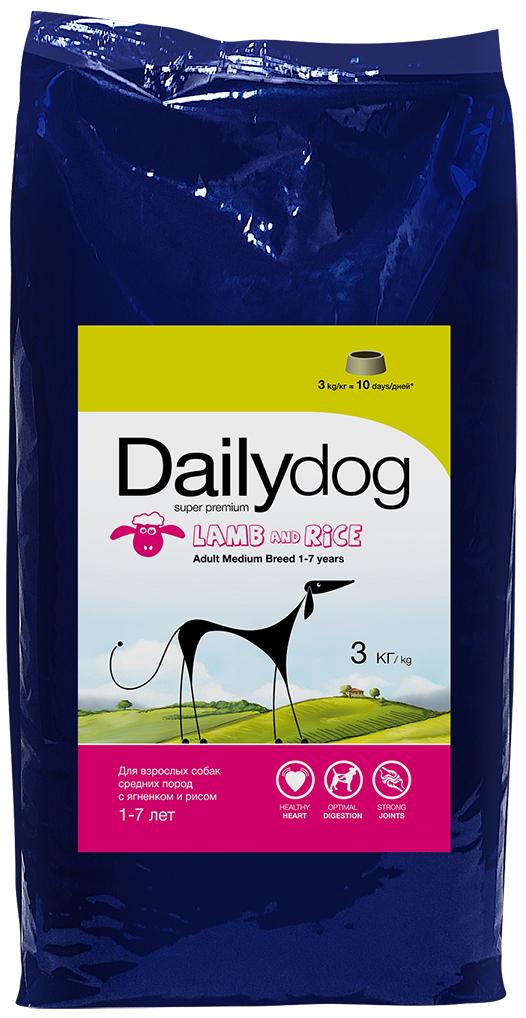 """Корм сухой Daily Dog """"Adult Medium Breed lamb and rice"""", для взрослых собак средних пород, с ягненком и рисом, 3 кг"""