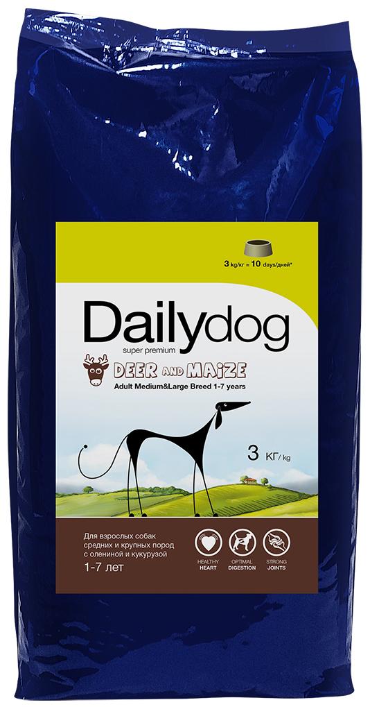 """Корм сухой Daily Dog """"Adult Medium Large Breed Deer and Maize"""", для взрослых собак средних и крупных пород, с олениной и кукурузой, 3 кг"""