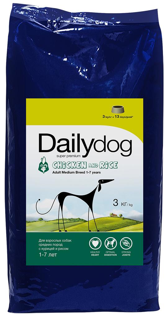 """Корм сухой Daily Dog """"Adult Medium Breed Chicken and Rice"""", для взрослых собак средних пород, с курицей и рисом, 3 кг"""