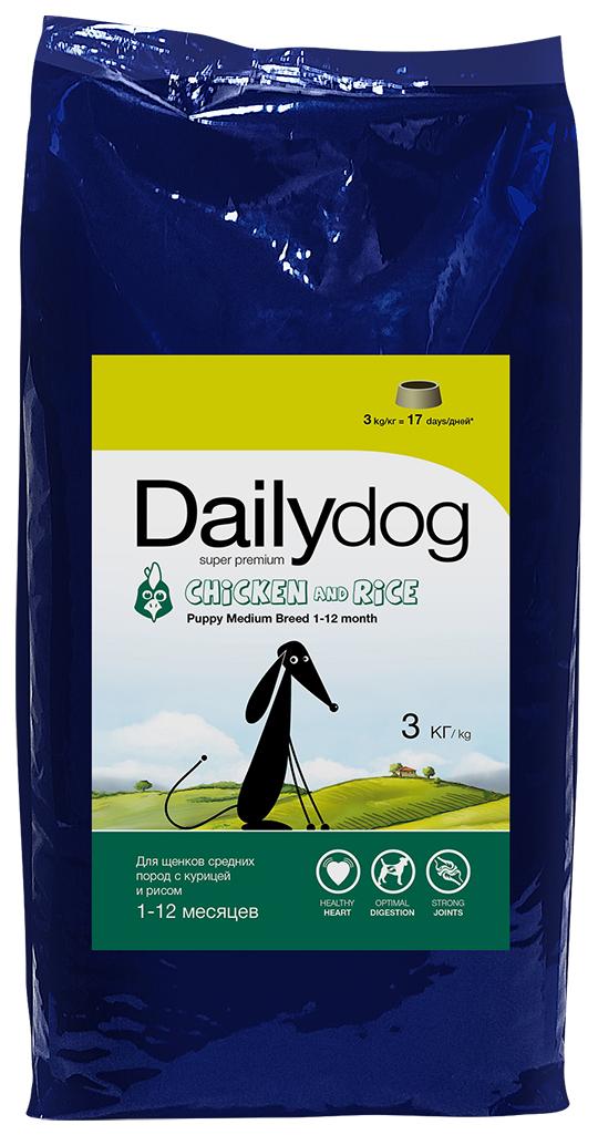 """Корм сухой Daily Dog """"Puppy Medium Breed Chicken & Rice"""", для щенков средних пород, с курицей и рисом, 3 кг"""