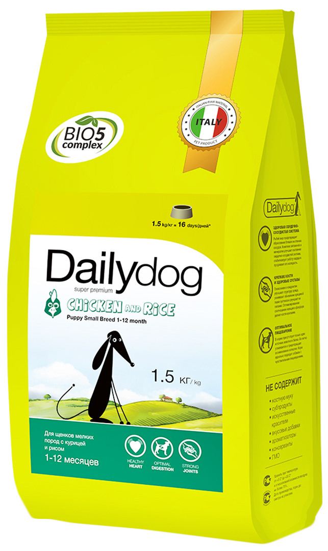 "Корм сухой Daily Dog ""Puppy Small Breed Chicken & Rice"", для щенков мелких пород, с курицей и рисом, 1,5 кг"