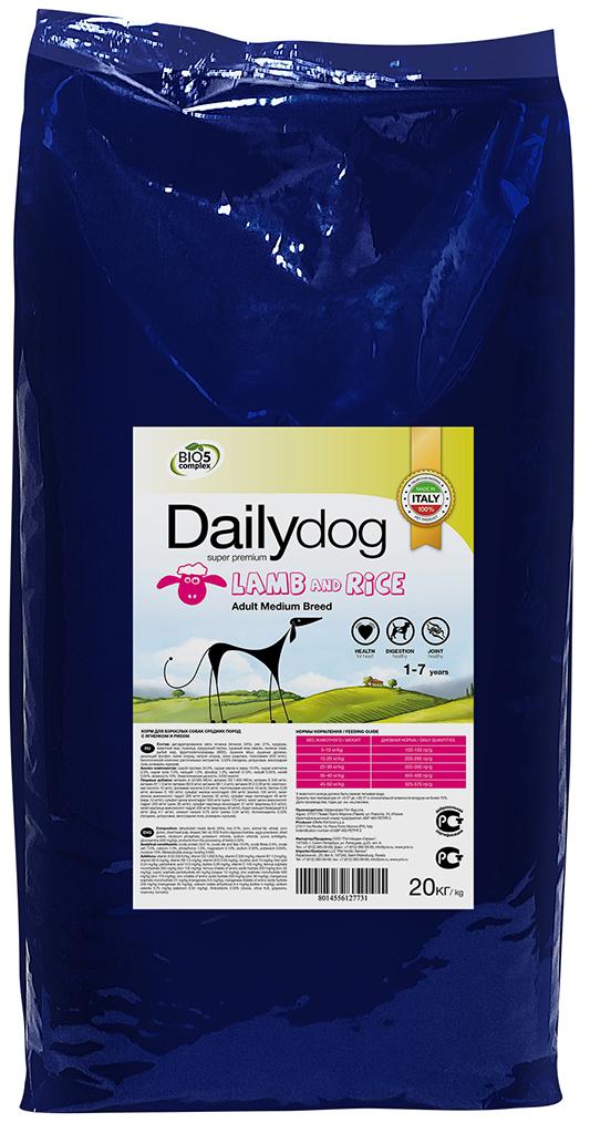 """Корм сухой Daily Dog """"Adult Medium Breed lamb and rice"""", для взрослых собак средних пород, с ягненком и рисом, 20 кг"""