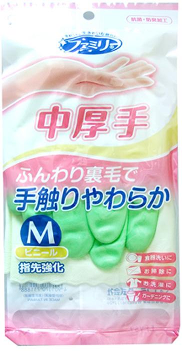 Перчатки хозяйственные ST Family, с уплотнением в области кончиков пальцев, средней толщины, цвет: зеленый. Размер M перчатки хозяйственные st family 722228