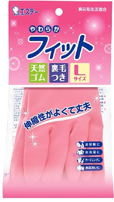 Перчатки хозяйственные ST Family, средней толщины, с внутренним покрытием, цвет: розовый. Размер L перчатки хозяйственные st family 722228