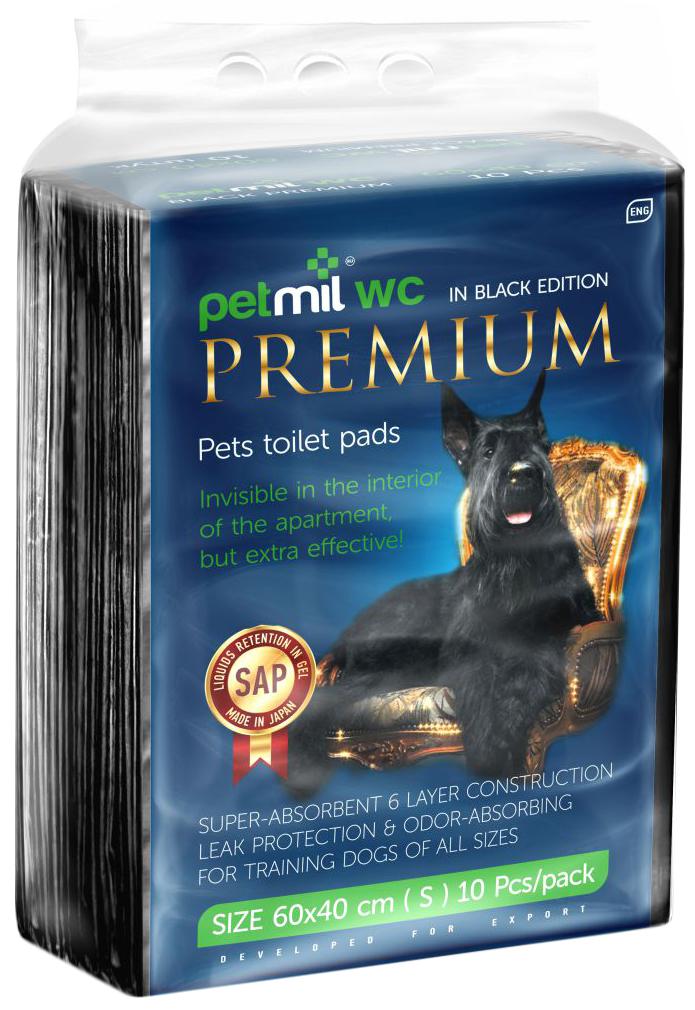 Пеленка-подстилка для животных Petmil WC Black Premium, 60 х 40 см, 10 шт