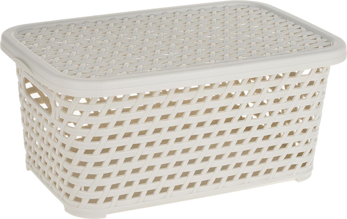 Ящик универсальный Idea Ротанг, с крышкой, цвет: белый ротанг, 28 х 18,5 х 12,6 см ящик универсальный альтернатива раскладной цвет в ассортименте 38 5 х 25 5 х 21 см