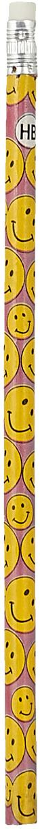 Calligrata Карандаш чернографитный Смайлы с ластиком твердость HB цвет корпуса фиолетовый красный карандаш чернографитный с ластиком твердость нв цвет корпуса черный желтый