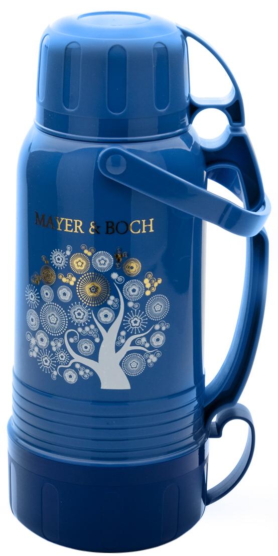 Термос Mayer & Boch, с 3 кружками, цвет: голубой, синий, объем 1,8 л