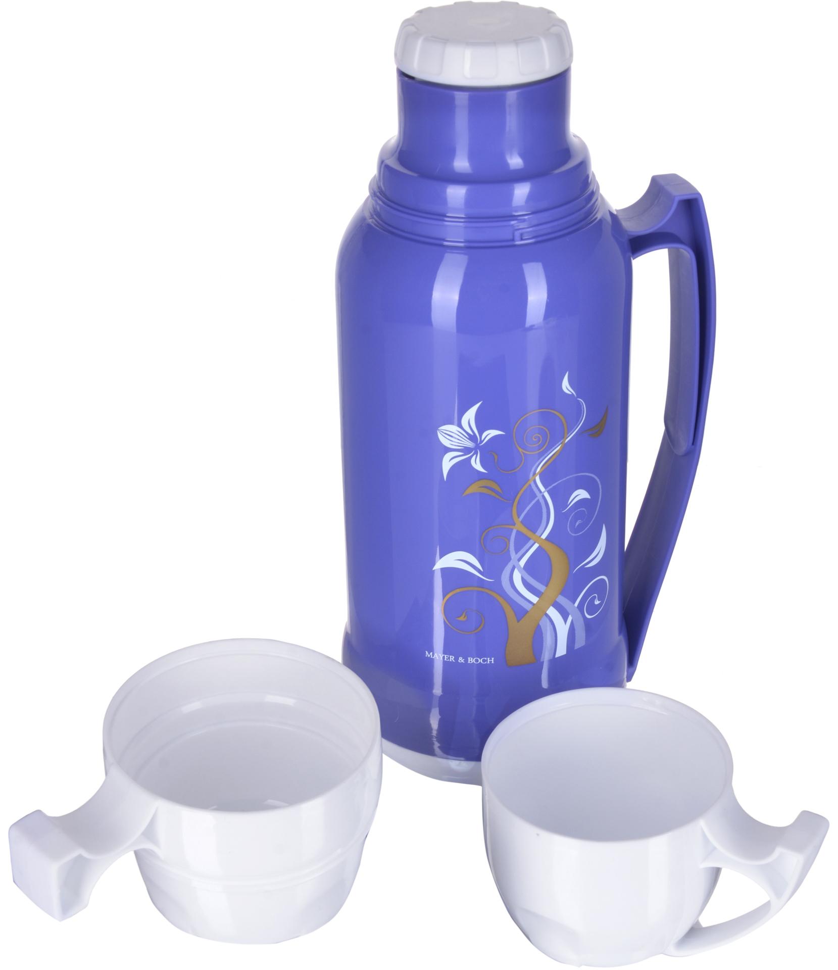 Термос Mayer & Boch, с 2 кружками, цвет: белый, фиолетовый, объем 1,8 л термос mayer