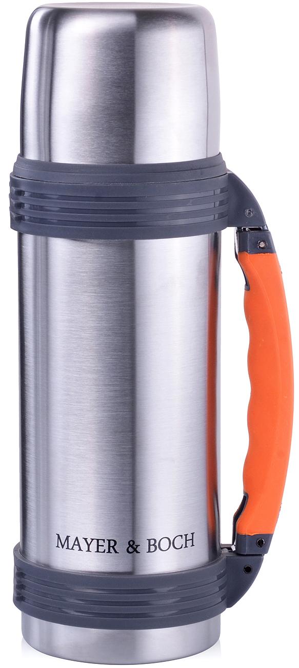 Термос Mayer & Boch, цвет: серебристый, оранжевый, объем 1,1 л
