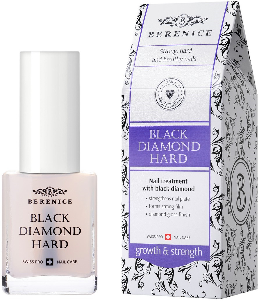 Средство для укрепления ногтей Berenice Black diamond hard, с частицами черного алмаза, 15 мл