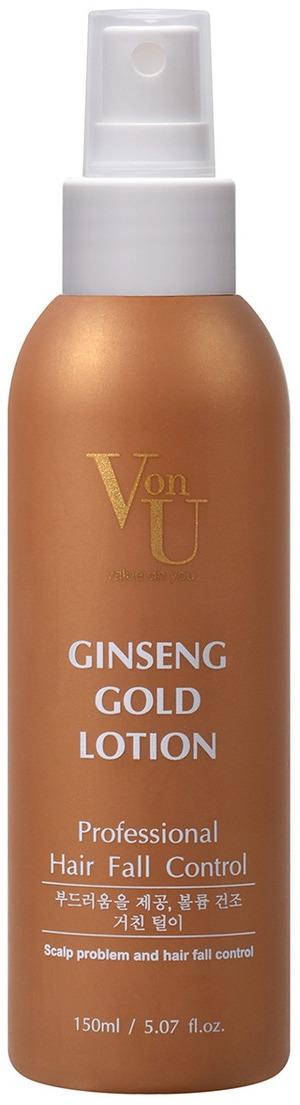 Лосьон для роста волос Von-U Ginseng Gold, 150 мл von u ginseng gold лосьон для роста волос с экстрактом золотого женьшеня ginseng gold лосьон для роста волос с экстрактом золотого женьшеня