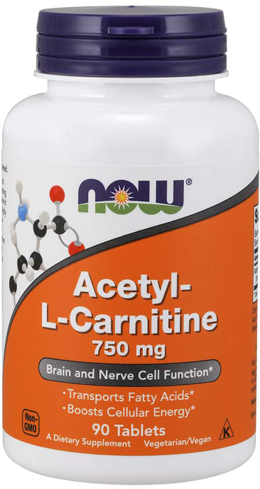Карнитин Now Foods Acetyl-L-Carnitine 750 мг, 90 таблеток