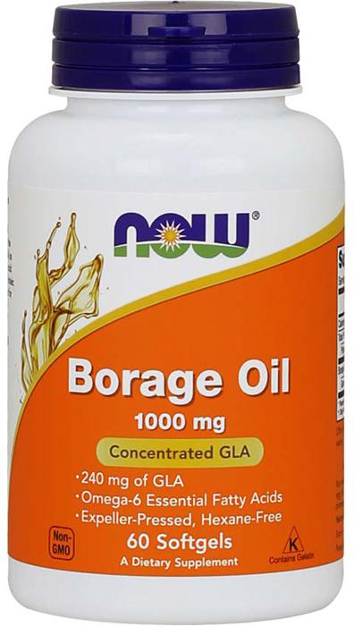 Комплекс жиров и аминокислот Now Foods Borage Oil 1000 мг, 60 мягких капсул