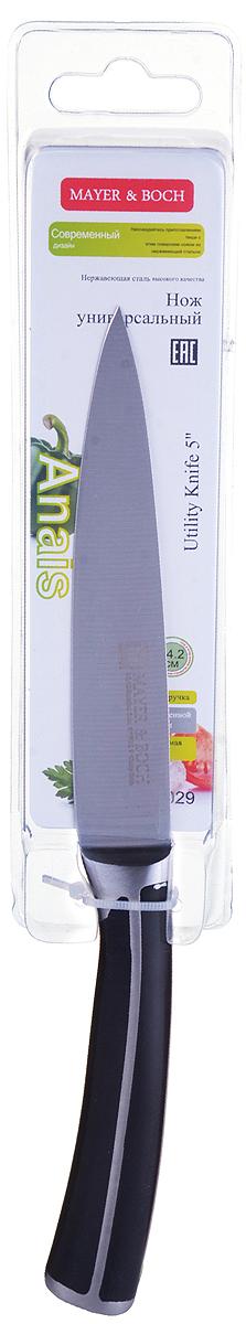 Нож универсальный Mayer & Boch Anais, цвет: серебристый, черный, длина лезвия 13 см28029Нож Mayer & Boch с лезвием из высококачественной нержавеющей стали станет незаменимым помощником на вашей кухне. Сечение ножа - клинообразно, что позволяет режущей кромке клинка быть продолжительное время острой. Поверхность клинка легко моется, не впитывает и не передает запахи пищи при нарезке различных продуктов. Эргономичная рукоятка ножа удобно ложится в ладонь, обеспечивая безопасную работу, комфортное положение в руке, надежный захват и не дает ножу скользить при использовании.