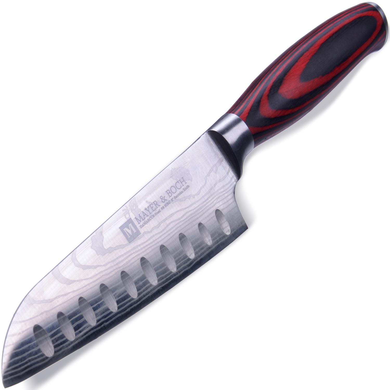 Нож универсальный Mayer & Boch Domascus, цвет: красный, черный, серебристый, длина лезвия 12,7 см