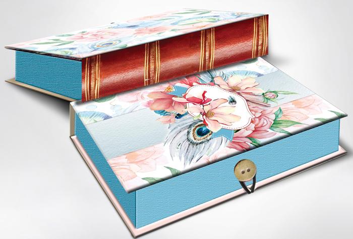 Коробка подарочная Magic Home Цветы и павлиньи перья. 42364 коробка голубые цветы magic home