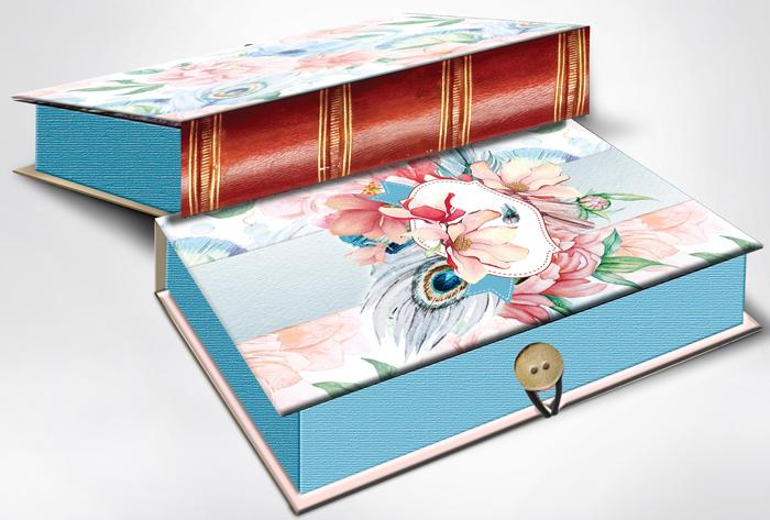 Коробка подарочная Magic Home Цветы и павлиньи перья. 42365 коробка голубые цветы magic home