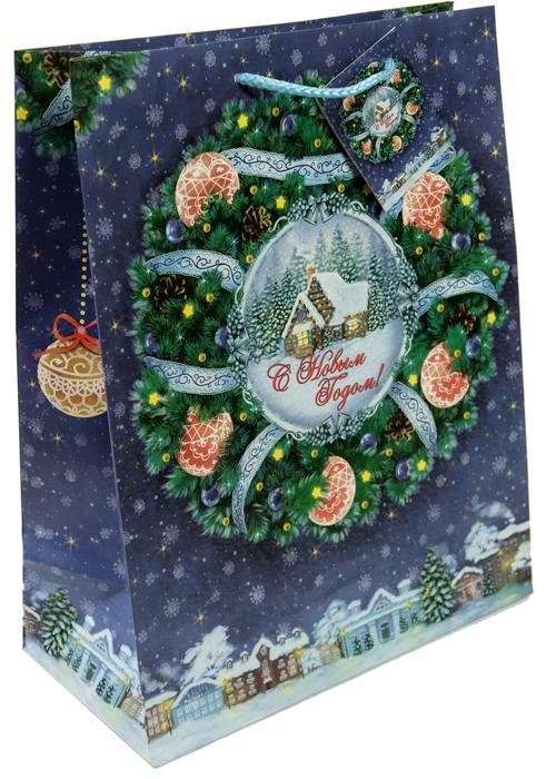 """Пакет бумажный Magic Time Magic Time """"Новогодний венок"""", 18 см.75302"""
