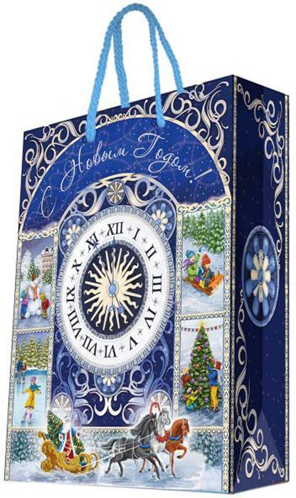 Пакет бумажный Magic Timeй Новогодние часы, 26 см.75312 пакет подарочный а4 26 32 12 7см новогодние часыбумажный с ламинацией 140 г м2 75312